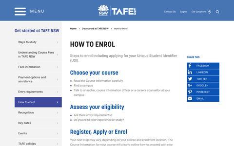 How to enrol - TAFE