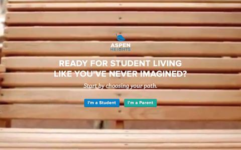 Screenshot of Home Page myaspenheights.com - Student Housing and Apartments | Aspen Heights - captured Dec. 9, 2015