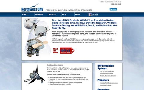 Screenshot of Products Page nwuav.com - UAV Engines | UAV System | Constant Speed Variable Pitch Propeller - captured April 17, 2018