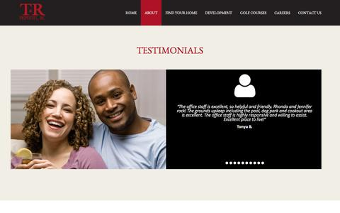Screenshot of Testimonials Page trprop.com - T&R Properties | Custom Page - captured May 1, 2017