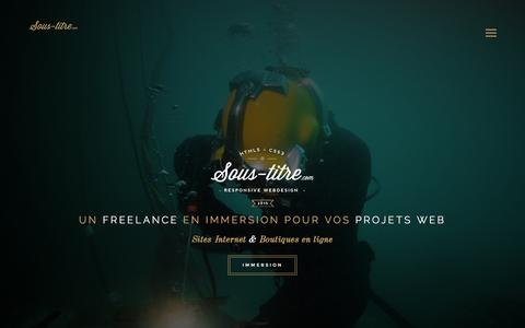 Screenshot of Home Page sous-titre.com - Sous-titre Webdesign - Freelance - HTML5 & CSS3 - Jquery - Bootstrap - wordpress - woocommerce - responsive design - captured Aug. 16, 2015