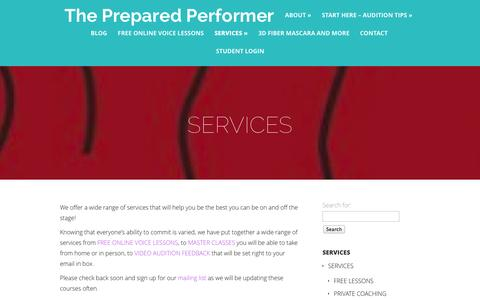 Screenshot of Services Page thepreparedperformer.com - SERVICES | The Prepared Performer - captured Oct. 9, 2014