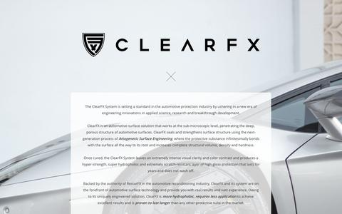 Screenshot of Home Page clear-fx.com - ClearFX – Attogenetic Surface Engineering - captured Sept. 28, 2018