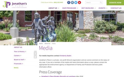 Screenshot of Press Page jpkids.org - Media   Jonathan's Place - captured Oct. 14, 2018