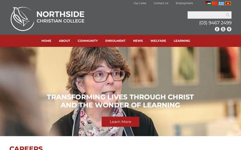Screenshot of Jobs Page ncc.vic.edu.au - Northside Christian College - captured Nov. 16, 2018