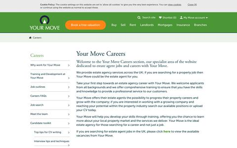 Screenshot of Jobs Page your-move.co.uk - Careers with Your Move Estate Agents - captured Aug. 18, 2019