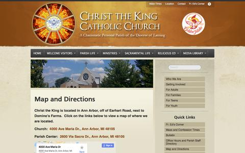 Screenshot of Maps & Directions Page ctkcc.net - Map and Directions - Christ the King Catholic ChurchChrist the King Catholic Church - captured July 30, 2017