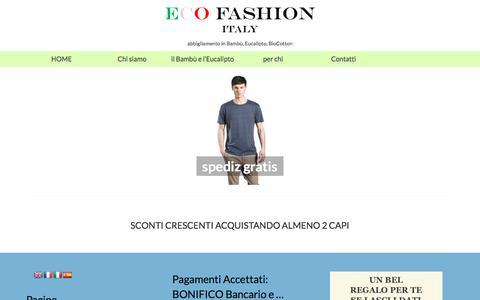 Screenshot of Home Page ecofashionitaly.com - ECO FASHION ITALY – abbigliamento in Bambù ed Eucalipto – fresche, asciutte ed anallergiche - captured Sept. 25, 2018