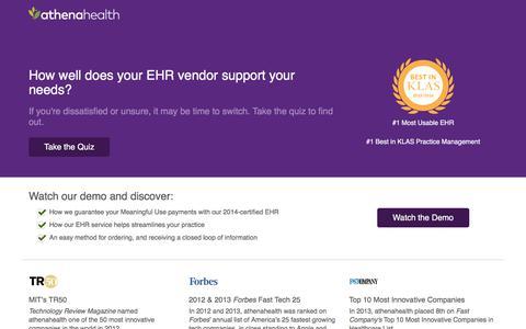 Screenshot of Landing Page athenahealth.com - Electronic Health Records Quiz | athenahealth | OLA - captured Sept. 16, 2017