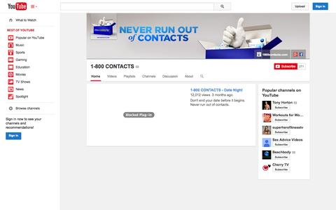 Screenshot of YouTube Page youtube.com - 1-800 CONTACTS  - YouTube - captured Oct. 29, 2014