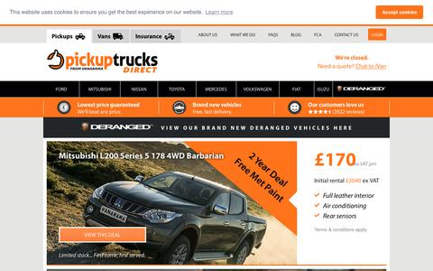 Screenshot of Home Page pickuptrucksdirect.co.uk - Pickup Truck Lease & Contract Hire Deals & Offers | Pickup Trucks Direct - captured July 17, 2018