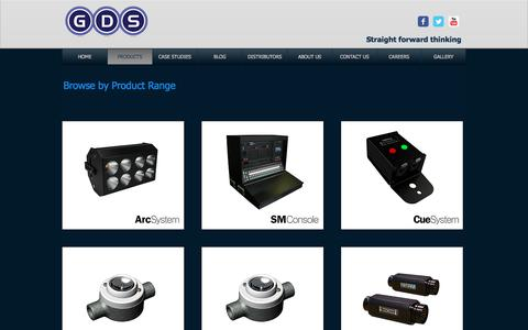 Screenshot of Products Page gds.uk.com - GDS Products: ArcSystem BlueSystem LiteWare CueSystem SM Console Mobal - captured July 8, 2017