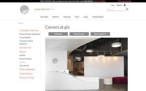 Screenshot of Jobs Page gloprofessional.com - Find a List of Jobs at glo Professional - captured Oct. 5, 2016