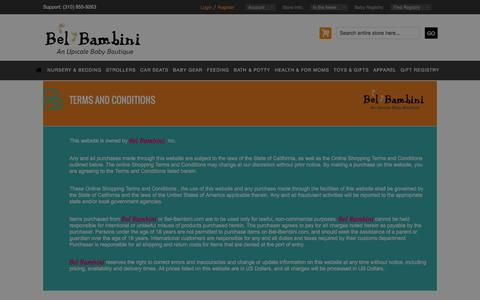 Screenshot of Terms Page bel-bambini.com - Terms and Conditions - captured Dec. 31, 2015