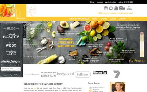 Screenshot of Home Page lukbeautifood.com - luk beautifood - 100% Natural Makeup made from food - captured Jan. 23, 2015