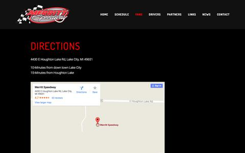 Screenshot of Maps & Directions Page merrittspeedwaymi.com - Directions — Merritt Speedway - captured July 31, 2017