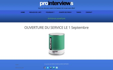 Screenshot of Home Page pro-interviews.fr - Pro Interviews - captured Sept. 30, 2014