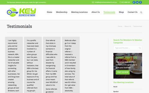 Screenshot of Testimonials Page keybusinessnetwork.com.au - Video Testimonials - Key Business Network - captured Jan. 9, 2016