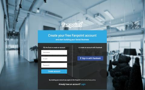 Screenshot of Signup Page fanpoint.com - Fanpoint - captured Oct. 31, 2014