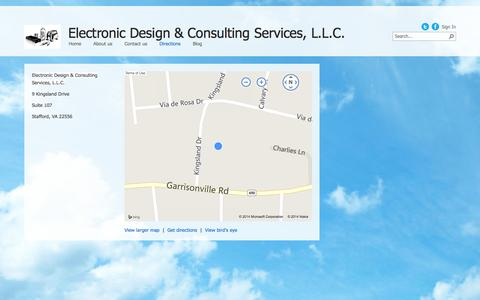 Screenshot of Maps & Directions Page electronicdesigns.com - Directions - captured Oct. 2, 2014