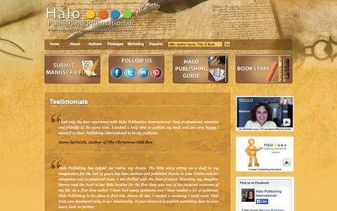 Screenshot of Testimonials Page halopublishing.com - Testimonials - Halo Publishing International - captured Oct. 1, 2014