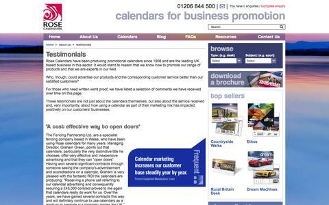 Screenshot of Testimonials Page rosecalendars.co.uk - Testimonials - Rose Calendars - captured Sept. 24, 2014