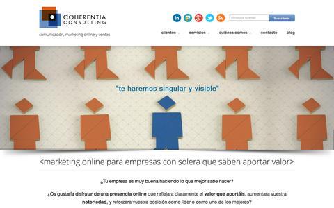 Screenshot of Home Page coherentiaconsulting.com - agencia de marketing online para empresas barcelona - captured Jan. 29, 2016