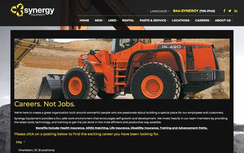 Screenshot of Jobs Page synergyequip.com - Careers   Synergy Equipment   Orlando Tampa Miami Fort Myers Daytona Florida - captured Sept. 21, 2018