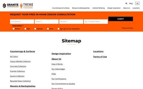 Screenshot of Site Map Page granitetransformations.com - Sitemap - Granite Transformations - captured Nov. 5, 2018