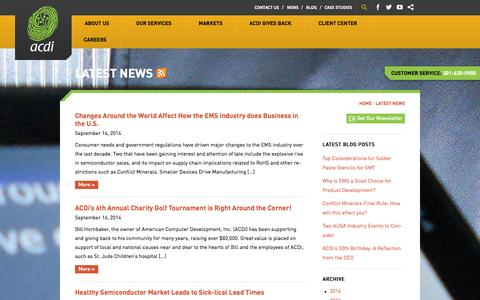 Screenshot of Press Page acdi.com - Latest News Archive - ACDI - captured Oct. 4, 2014