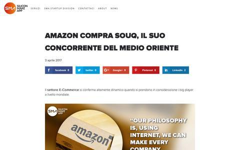 Screenshot of Press Page siliconmakeapp.com - Amazon compra il competiror Souq | Silicon Make App - captured Oct. 20, 2018