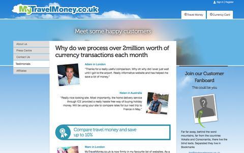 Screenshot of Testimonials Page mytravelmoney.co.uk - MyTravelMoney.co.uk Review And Customer Feedback - captured July 5, 2017