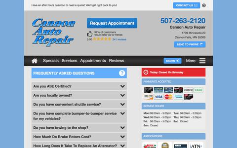 Screenshot of FAQ Page cannonautorepair.com - Check it out Car Repair FAQs by Cannon Auto Repair in Cannon Falls, MN - captured July 15, 2018