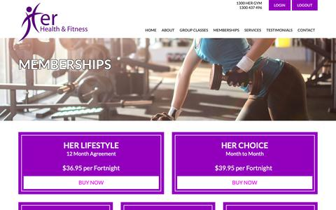 Screenshot of Pricing Page herfitness.com.au - Memberships | Her Health & Fitness | Greenacre NSW 2190 - captured Sept. 28, 2018