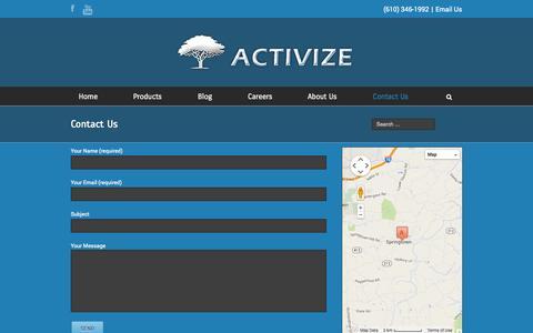 Screenshot of Contact Page activize.com - Contact Us - Activize - captured Nov. 2, 2014