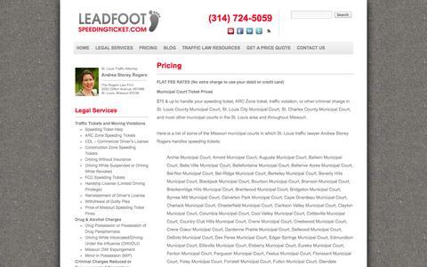 Screenshot of Pricing Page leadfootspeedingticket.com - Pricing, Legal Fees | Leadfoot - captured Nov. 5, 2014