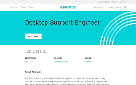 Screenshot of Jobs Page amobee.com - Desktop Support Engineer — Amobee - captured Nov. 18, 2019