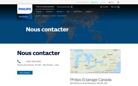 Screenshot of Support Page philips.ca - Contactez-nous - PhilipsLighting - captured July 20, 2018
