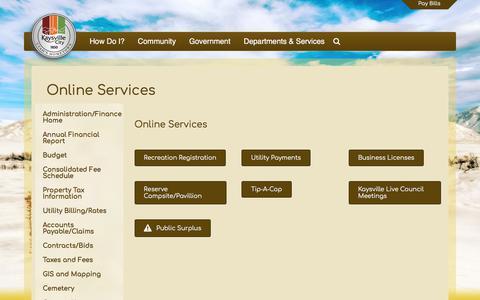Screenshot of Services Page kaysvillecity.com - Online Services – Kaysville City - captured June 9, 2017