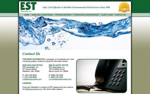 Screenshot of Contact Page estassociates.com - EST Associates: Contact Us - captured Oct. 1, 2014