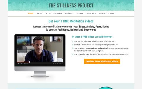 Screenshot of Home Page stillnessproject.com - The Stillness Project - Inspire People to Meditate Daily - captured Feb. 14, 2016