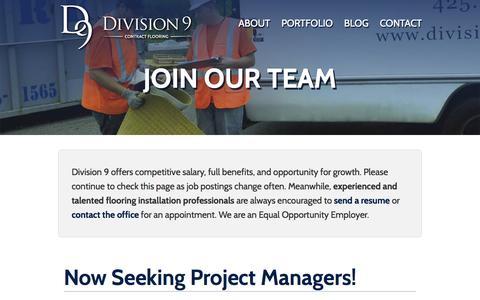 Screenshot of Jobs Page division9flooring.com - Jobs - Division 9 Flooring - captured Feb. 9, 2016