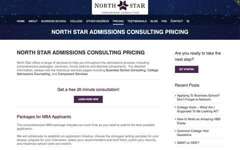Screenshot of Pricing Page northstaradmissions.com - North Star Admissions Consulting-Consulting Pricing - captured Oct. 24, 2018
