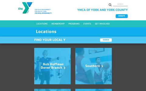 Screenshot of Contact Page Locations Page yorkcoymca.org - YMCA Locations in York County PA | YMCA of York Co - captured Sept. 29, 2017