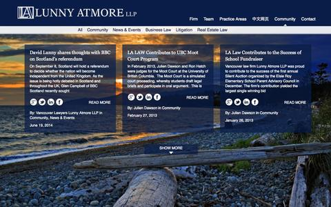 Screenshot of Blog lunnyatmore.com - Blog | Lunny Atmore LLPLunny Atmore LLP | Vancouver Lawyers - captured Oct. 3, 2014