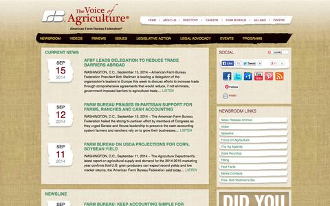 Screenshot of Press Page fb.org - Newsroom - The Voice of Agriculture - American Farm Bureau - captured Sept. 18, 2014