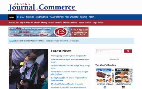 Screenshot of Home Page alaskajournal.com - The Alaska Journal of Commerce | The Alaska Journal of Commerce has been giving Alaska the business news since 1976. - captured Jan. 17, 2016