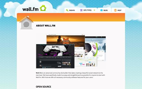 Screenshot of About Page wall.fm - About Wall.fm Social Networking Site Builder - captured Nov. 3, 2014