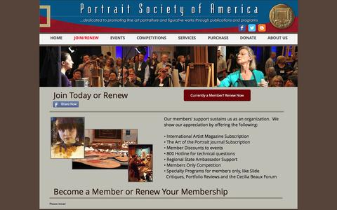 Screenshot of Signup Page portraitsociety.org - Portrait Society of America | JOIN/RENEW - captured Dec. 1, 2016