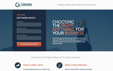Screenshot of Landing Page g2crowd.com captured Feb. 11, 2016